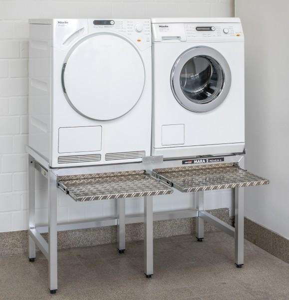 """Waschmaschinensockel Doppelplatz mit Auszügen """"Mara 2 Premium 6"""" 70 cm hoch (86526)"""